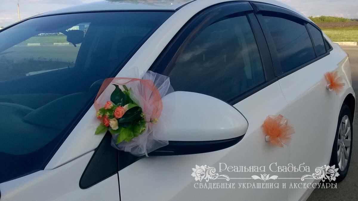 Украшение зеркал свадебных машин своими руками 27